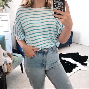 Free press blue white striped flute sleeves shirt
